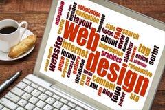 Nuvem da palavra do design web Fotos de Stock