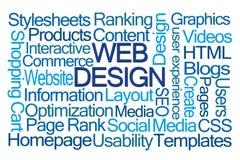 Nuvem da palavra do design web Foto de Stock Royalty Free