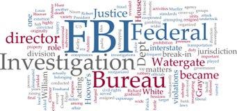Nuvem da palavra do FBI Fotografia de Stock