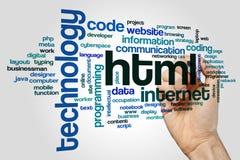 Nuvem da palavra do HTML imagens de stock