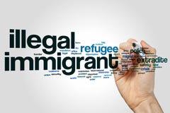 Nuvem da palavra do imigrante ilegal imagem de stock