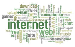 Nuvem da palavra do Internet Imagem de Stock