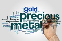 Nuvem da palavra do metal precioso imagens de stock