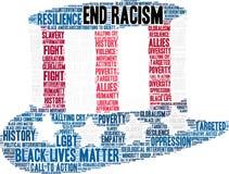 Nuvem da palavra do racismo do fim ilustração royalty free