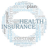 Nuvem da palavra do seguro de saúde Foto de Stock
