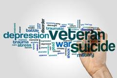 Nuvem da palavra do suicídio do veterano foto de stock