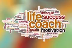 Nuvem da palavra do treinador da vida com fundo abstrato Imagens de Stock Royalty Free