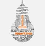 Nuvem da palavra do vetor da ampola da inovação Fotografia de Stock Royalty Free