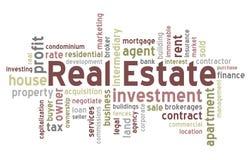 Nuvem da palavra dos bens imobiliários Imagens de Stock Royalty Free