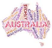 Nuvem da palavra dos destinos do curso da parte superior de Austrália fotos de stock royalty free