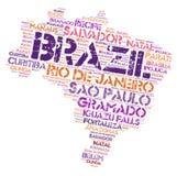 Nuvem da palavra dos destinos do curso da parte superior de Brasil Fotos de Stock