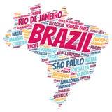 Nuvem da palavra dos destinos do curso da parte superior de Brasil Imagem de Stock Royalty Free