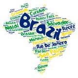 Nuvem da palavra dos destinos do curso da parte superior de Brasil Foto de Stock Royalty Free