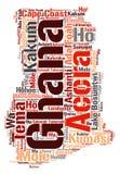 Nuvem da palavra dos destinos do curso da parte superior de Gana Foto de Stock