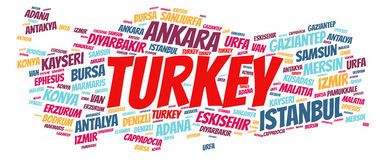 Nuvem da palavra dos destinos do curso da parte superior de Turquia fotos de stock royalty free