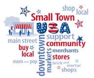 Nuvem da palavra dos EUA da cidade pequena Imagens de Stock