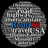 Nuvem da palavra em Route 66 Fotografia de Stock Royalty Free