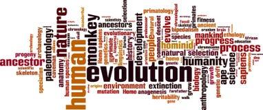 Nuvem da palavra da evolução ilustração stock