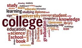 Nuvem da palavra da faculdade ilustração do vetor