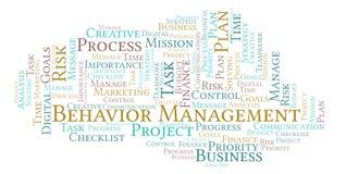 Nuvem da palavra da gestão do comportamento, feita com texto somente ilustração stock