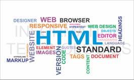 Nuvem da palavra - HTML Fotografia de Stock