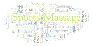 Nuvem da palavra da massagem dos esportes ilustração royalty free