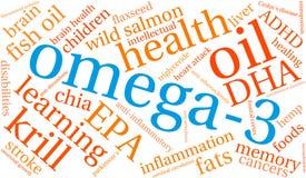 Nuvem da palavra Omega-3 ilustração stock