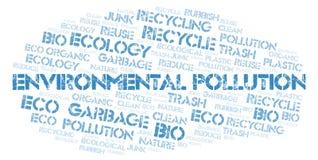 Nuvem da palavra da poluição ambiental imagens de stock