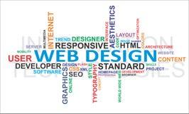 Nuvem da palavra - projeto de Web Foto de Stock