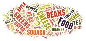Nuvem da palavra que mostra as palavras que tratam o alimento Fotografia de Stock Royalty Free
