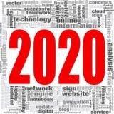 Nuvem 2020 da palavra da palavra da tecnologia do Internet Fotografia de Stock