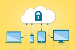Nuvem da segurança que computa a ilustração lisa do vetor no amarelo Fotografia de Stock Royalty Free