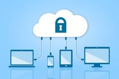 Nuvem da segurança que computa a ilustração lisa do vetor no azul Fotografia de Stock