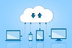 Nuvem da transferência da transferência de arquivo pela rede que computa a ilustração lisa do vetor Fotos de Stock