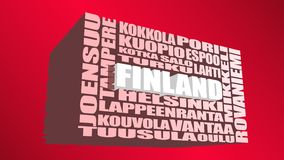 Nuvem das etiquetas dos lugar de Finlandia Imagens de Stock Royalty Free