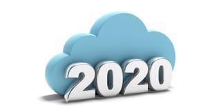 2020 Nuvem de computação do armazenamento de dados de ano novo e isolada no fundo branco ilustração 3D ilustração do vetor