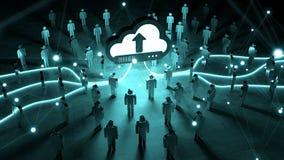 Nuvem de Digitas que ilumina uma rendição do grupo de pessoas 3D Fotografia de Stock
