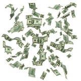 Nuvem de notas de dólar do voo cem Fotografia de Stock Royalty Free