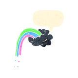 nuvem de tempestade retro dos desenhos animados com arco-íris Fotos de Stock Royalty Free