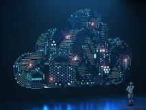 Nuvem do circuito com robô Fotografia de Stock Royalty Free