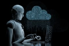 Nuvem do circuito com robô ilustração stock