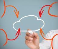 Nuvem do desenho do homem de negócios Foto de Stock Royalty Free