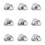 Nuvem do metal que compartilha de ícones Fotos de Stock