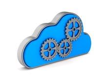Nuvem e engrenagem no fundo branco Ilustração 3d isolada Fotos de Stock Royalty Free