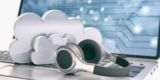 Nuvem e fones de ouvido do computador em um portátil ilustração 3D Imagens de Stock