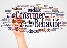 Nuvem e mão da palavra do comportamento de consumidor com conceito do marcador ilustração royalty free