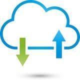Nuvem e setas, serviços da TI e logotipo do Internet
