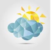 Nuvem e sol do polígono Imagem de Stock Royalty Free