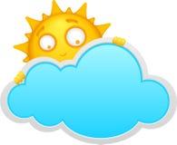 Nuvem e sol dos desenhos animados Imagens de Stock