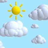 Nuvem e sol dos desenhos animados do plasticine ou da argila Fotos de Stock